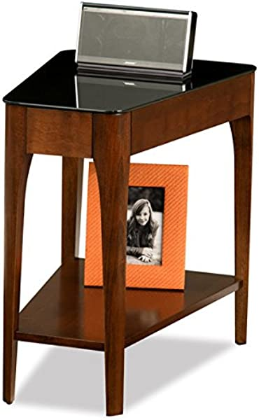 Accent Table Chestnut Finish Wood Recliner Wedge Side Table With Black Glass Top 17 In Wide X 24 In Long X 24 In High