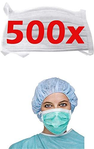 500x RESCH OP Mundschutz Maske - EINWEGMASKE BESTSELLER NR 1 in 2020 - Maske Atemschutz Mundmaske Hygienemaske Atemschutzmaske zur Prophylaxe Schmierinfektionen & Tröpfcheninfektionen, weiss
