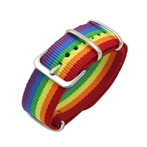 Yinuneronsty - Correa de tela arcoíris, tejido de nailon balístico, bandas de reloj de repuesto de hebilla