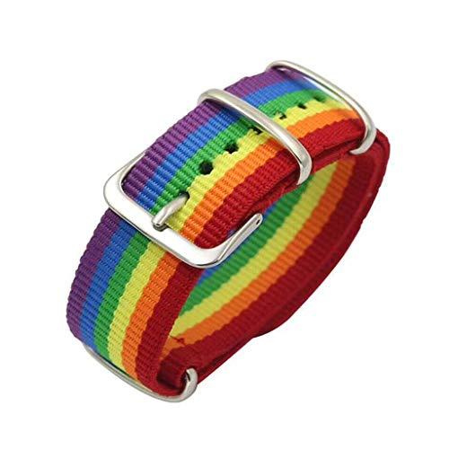 lijun Pulsera Tejida Lona arcoíris Correa de Repuesto de Bucle de Bandas de Reloj de Nailon balístico