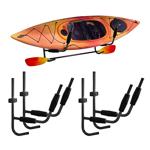 Mind and Action Kayak Storage Rack, Pack of 4 Heavy Duty Iron Kayak Wall Mount Storage Rack Kayak Ladder Canoe Surfboard Storage Wall Bracket Holder with Fitting Accessories, Max Load 100LBs
