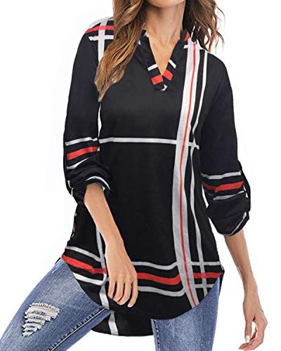 YOINS Camicia Donna Elegante Camicetta Donna Manica Lunga Bluse Camicie a Quadri Blusa Scollo V Casuale Nero S