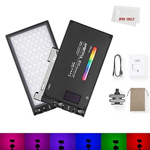 AMBITFUL K10 RGB LED Video Light 2500-8500K regulable 0-360 Full Color Mini Pocket Size with 9 Modos, Built-in 3200 mAh...