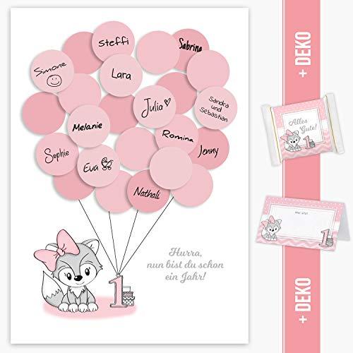 Erster Geburtstag Gästebuch, 1. Geburtstag Geschenk Fuchs Mädchen in rosa Deko, Dekoration, Gastgeschenk, Andenken, Idee, Glückwünsche, Erinnerungsstück, 1ster Geburtstag, Happy Birthday