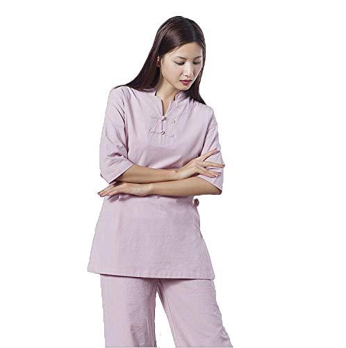 GUIOB Tai Chi Traditionelle Kleidung - Tai Chi Fitnesskleidung Sportbekleidung Kung Fu Trainingskleidung Aus Baumwolle Und Leinen Damen Yoga Kleidung,Pink-L