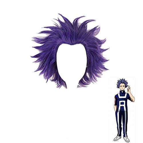 Ani·Lnc Parrucche Cosplay Parrucche sintetiche parrucche corte viola con cappuccio gratuito
