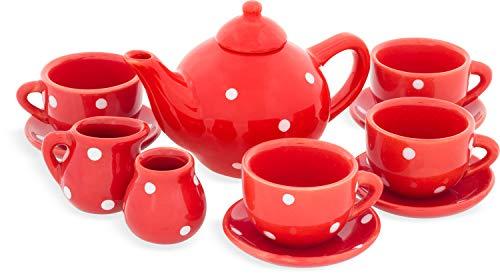 Ulysse- Dinette en Porcelaine-Service à thé Rouge avec Motifs à Pois Blancs, 5039