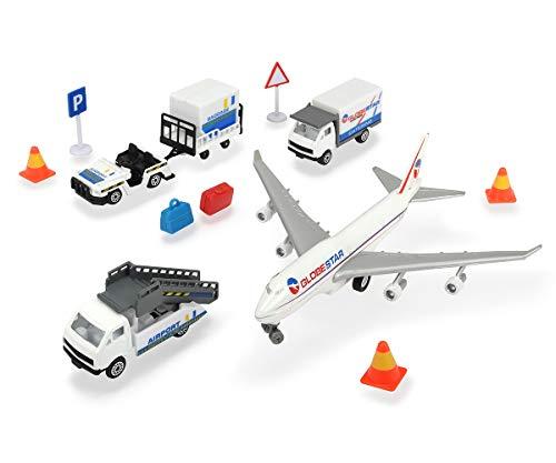 Dickie Toys Flughafen Spielzeugset, Airport Set bestehend aus 3 Autos, 1 Flugzeug, Zubehör, gesamt 13 Teile, für Kinder ab 3 Jahren