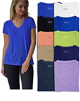 Sexy Basics Women's 10 Pack Everyday Flowy Slub Burnout Active Casual Workout V Neck T Shirt Tops