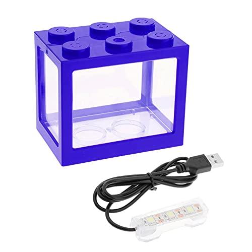 FLAMEER Creativo USB Mini pecera Mini Acuario con luz LED Edificio Bloque pez Caja hogar Oficina Mesa Decoración - Azul