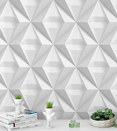 Papel de Parede 3D Triangulos em tons de branco e cinza + Kit Aplicação completo