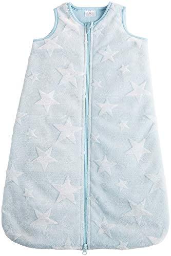 POCOPIANO® Baby Winterschlafsack | Schlafsack aus weichem Plüsch | Innenfutter aus 100% Baumwolle (hellblau - Sterne, 70 cm - ca. 0-6 Monate)