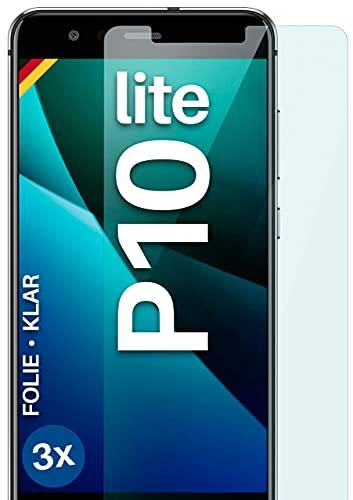 moex Klare Schutzfolie kompatibel mit Huawei P10 Lite - Displayfolie kristallklar, HD Displayschutz, dünne Kratzfeste Folie, 3X Stück