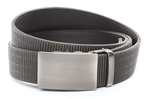 "Anson Belt & Buckle - 1.5"" Classic Gunmetal Buckle with Concealed Carry Ratchet Belt Strap (Tactical Grade Nylon/Microfiber Backing, Graphite)"