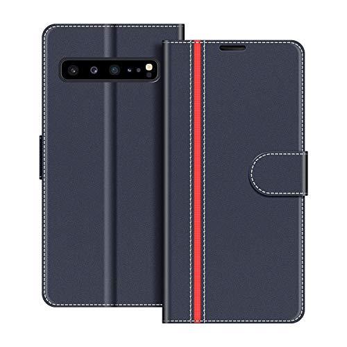 COODIO Handyhülle für Samsung Galaxy S10 5G Handy Hülle, Samsung Galaxy S10 5G Hülle Leder Handytasche für Samsung Galaxy S10 5G Klapphülle Tasche, Dunkel Blau/Rot