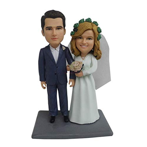 Regalo de boda Pastel de bodas Topper Personalizado Muñeca real personalizada Muñecas de arcilla personalizadas Cuerpo de resina fija Idea de regalo de San Valentín Muñeca