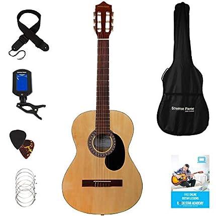 Guitarra clásica Stretton Payne de tamaño completo 4/4 (99 cm), paquete de guitarra acústica clásica de estilo español con cuerdas de nailon Paquete de guitarra acústica, madera natural.