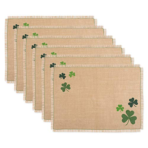 DII CAMZ11152 100% Jute Placemat, Perfect for Parties, St Patrick's Day & Spring Tablecloth, Shamrock Shake