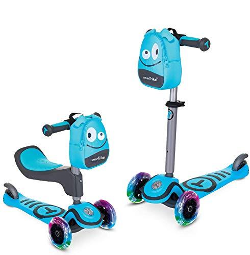 Scooter by smarTrike T1 Kinderscooter mit Sitz, LED-Leuchträder und Snacktasche Scooter - Kinderroller, Blau, S