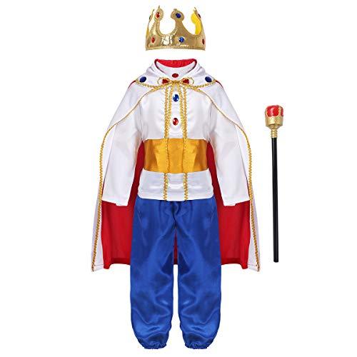 Agoky 7 Stücke Jungen Mittelalterlichen Prinz König Kostüm Kind Umhang Krone Royal Schlagstock Halloween Kostüme für Kinder Cosplay Rollenspiel Party Weiß 4-5 Jahre