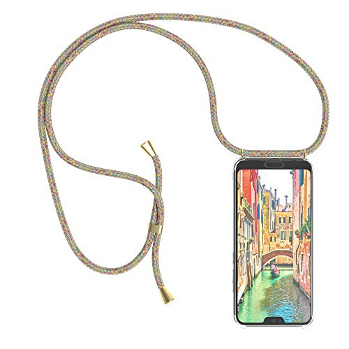 EAZY CASE Handykette kompatibel mit Honor 10 Handyhülle mit Umhängeband, Handykordel mit Schutzhülle, Silikonhülle, Hülle mit Band, Stylische Kette mit Hülle für Smartphone, Rainbow