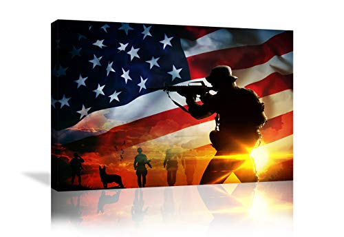 Urttiiyy American Soldier Wall Art Canvas Prints American Flag Wall Decor Military Poster Modern Home Decor for Living Room Bedroom Office Framed Ready to Hang