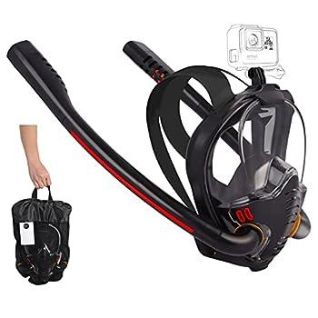 HJKB Full Face Snorkel Mask Snorkeling Gear for Adults and Kids 180 Degree Panoramic HD Seaview Dry Top Set Anti-Leak Snorkel Mask  Black L/XL