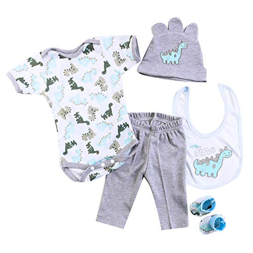 Pedolltree Reborn Baby Dolls Clothes Boy 20-22 Inch Reborn Doll Clothing Outfits Accessories 5 Pcs Sets