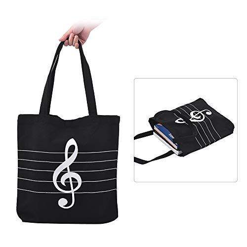 ABMBERTK Waschbare Leinwand Handtasche, Music Tote Schulter Lebensmitteleinkaufstasche, mit Magnetknopf, Musical High Notes Pattern, Schwarz