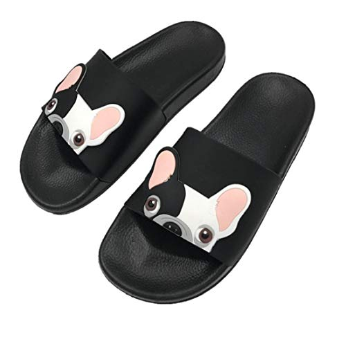 Cartoon Französisch Bulldog Print Sommer Slide Hausschuhe für Männer Frauen Indoor Open-Toe Sandalen Schwarz Größe 40