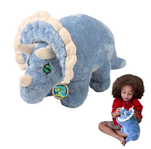 Juguete Suave del Triceratops de EcoBuddiez, Grande (los 30cm) - Juguete Suave y mimoso del Dinosaurio de Deluxebase. Hecho de Las Botellas plásticas recicladas. Regalo mimoso niños.
