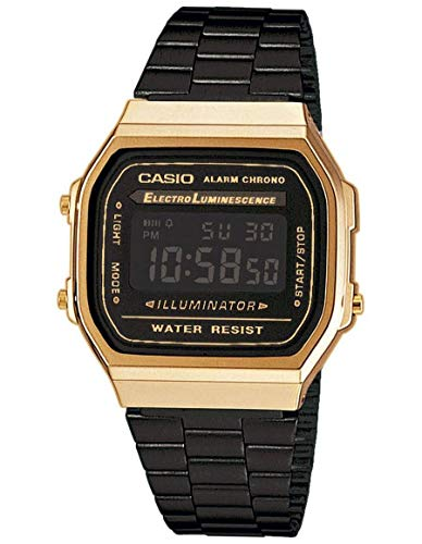 Casio Collection – Unisex-Armbanduhr mit Digital-Display und Edelstahlarmband – A168WEGB-1BEF