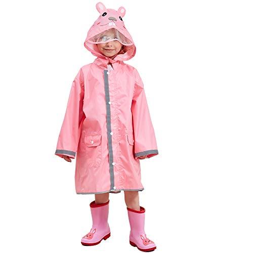 Bwiv Regenponcho Unisex Wasserdicht Leicht Regenmantel Schulranzen Atmungsaktiv Regenjacke Tasche Outdoor Regen Overall Reflektoren mit Tiermuster Kapuze für Jungen Mädchen Rosa L