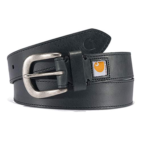 Carhartt Women's Standard Legacy, Saddle Leather Belt (Black with Nickel Roller Finish), X-Large