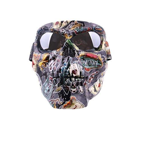 UKKD Motorrad Maske Brille Motorrad-Modular-Masken-Scooter Helme Maske Motorrad-Schutzbrille Schädel-Maske Halb Helm Brille Maske Ski Abnehmbare Brillen,Scorpion Silber Linse
