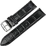 PINGZG Reloj Accesorios Simple Pin Hebilla Reloj Reloj Bandas Correa Reemplazo Pulseras, Cómodo Transpirable (Color : Black B Silver, Size : 12MM)