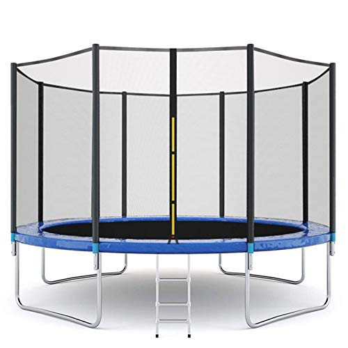 12 FT Kids Trampoline with Enclosure Net Jumping Mat and Spring Cover Padding, Safety & Pad, Indoor/Outdoor Round Bounce Jumper, Built-in Zipper Heavy Duty Frame | Great Gift (Blue)