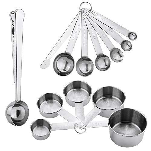 Taza y cuchara de medición de acero inoxidable Jooheli con regla de medición, tazas de medición de 5 tazas, juego de 6 cucharas de medición Cuchara con clip y 1 regla de medición