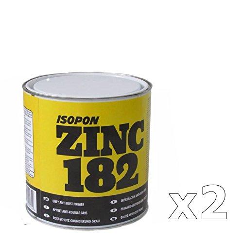 U-POL 2 x Davids Zinc 182 Isopon Anti-rust Grey Primer 1 Litre