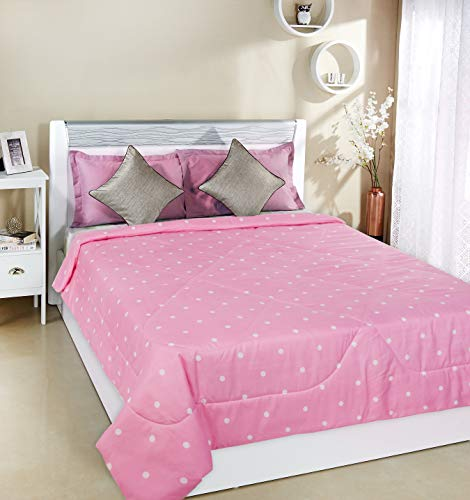 Amazon Brand - Solimo Pleasant Polka Microfibre Printed Quilted AC Blanket, 120 GSM, Pink, Double