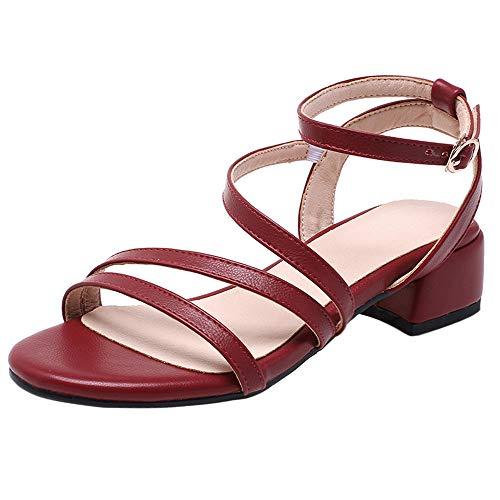 Garggi Mode Sommer Sandalen Damen Blockabsatz Knöchelriemchen Offene Zeh Sandalen Party Mitte Absatz Sandalen Rotwein Gr 42 Asiatisch