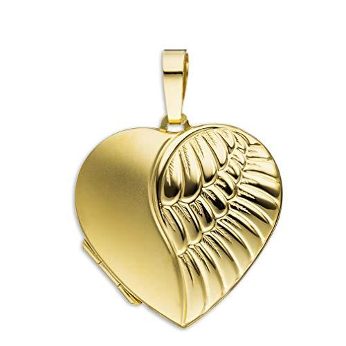 Medaillon Herz Flügel Engel teilmattiert verziert 333 Gelbgold 8 Karat Gold zum öffnen für Bildereinlage 2 Fotos Amulett von Haus der Herzen® mit Schmuck-Etui