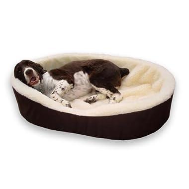 Dog Bed King USA Orthopedic Foam Pet Bed, Brown/Cream Large. 33 x 23 x 7 (Sleep Area: 31 x 21)