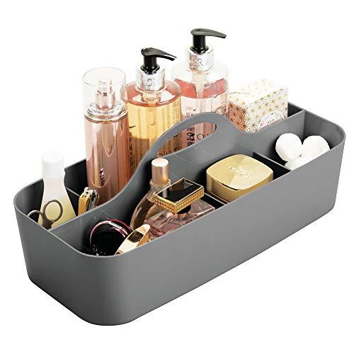mDesign Badezimmer Korb mit Griff – als Kosmetik Organizer, Küchen Aufbewahrungsbox oder Handtuchhalter – kleine Bad Box aus robustem Kunststoff – anthrazit