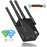 1200Mbps Dual Band WiFi Range Extender,2.4&5GHz WiFi Repeater,2 Ethernet Ports,4 External Antennas Wireless Signal Booster,Wire Repeater with Router/AP/Repeater Mode WPS Function.