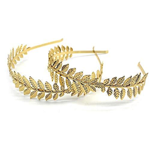 SHYOD 2 Stück Römische Blattkrone Mode Gold Blatt Stirnband Tiara Vintage Römische Göttin Blatt Braut Haar Krone Fit für Hochzeit, Party, Tanzparty zhangxu