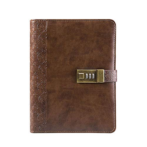 Lock Diary Digital Combination Password Refillable Inner Pages Large Locking Journal Embossed Leather Binder Notebook 6 Hole,Brown