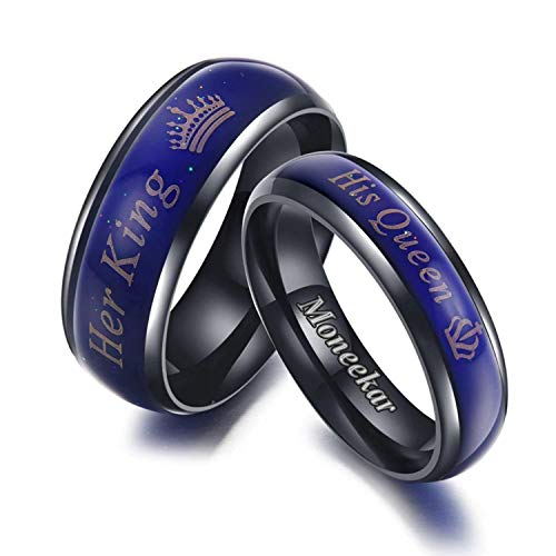 Moneekar Jwels 2pcs Amazing Mood Ring for Her King His Queen Titanium Color-Changing Ring Promise Rings for Couples