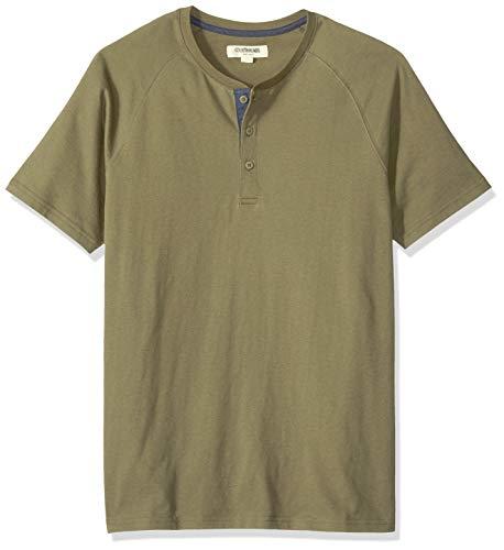 Amazon-Marke: Goodthreads Herren Henley Kurzarm, aus Jersey in Wildlederoptik, Olive, US M Tall (EU M)