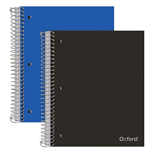 Oxford Spiral Notebooks, 3-Subject, Wide Ruled Paper, Durable Plastic Cover, 150 Sheets, 3 Divider Pockets, 2 per Pack (10385)